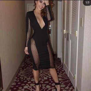 House of CB - Black Mesh long sleeve Midi dress